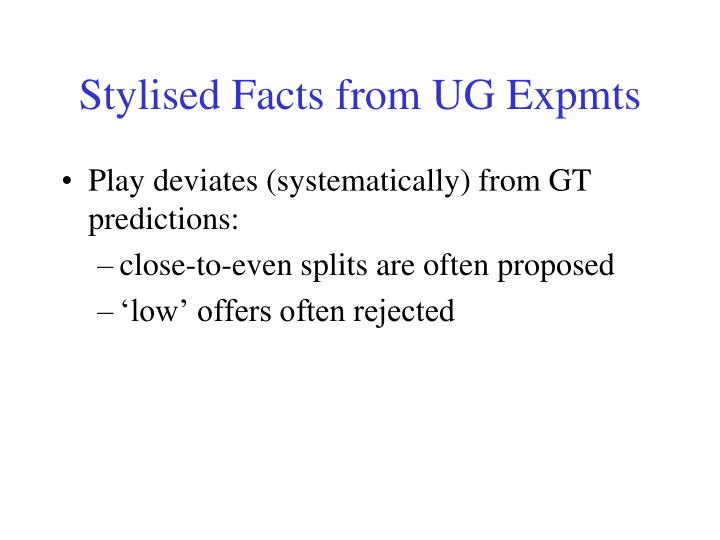 Stylised Facts from UG Expmts
