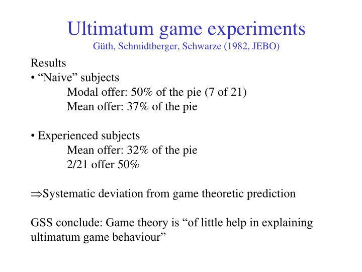 Ultimatum game experiments