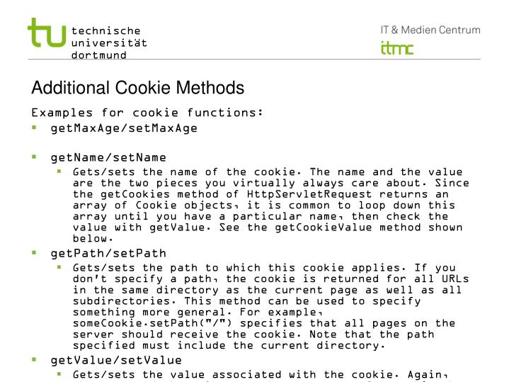 Additional Cookie Methods