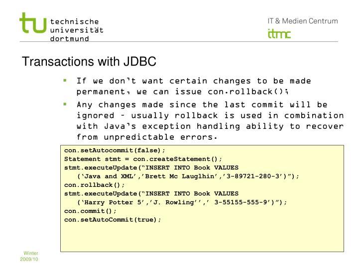 Transactions with JDBC