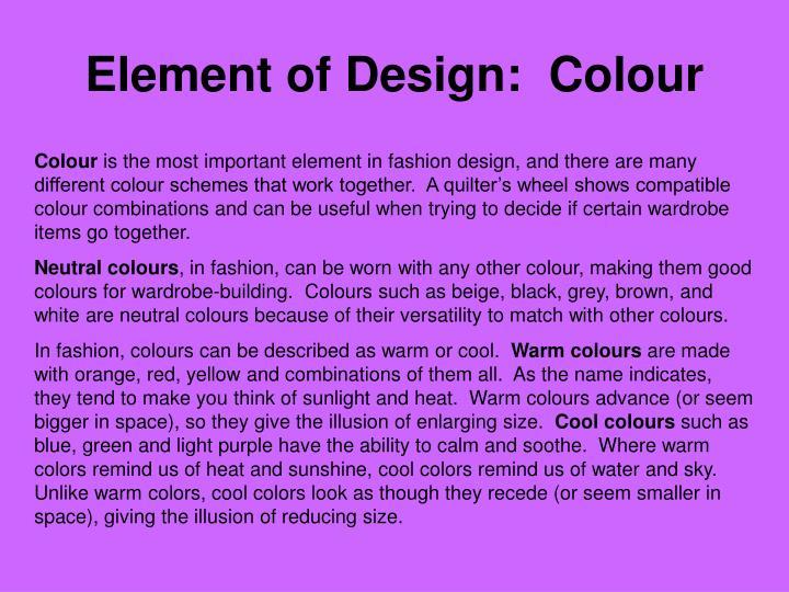 Element of Design:  Colour