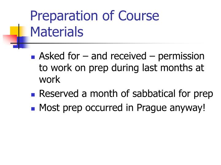 Preparation of Course Materials