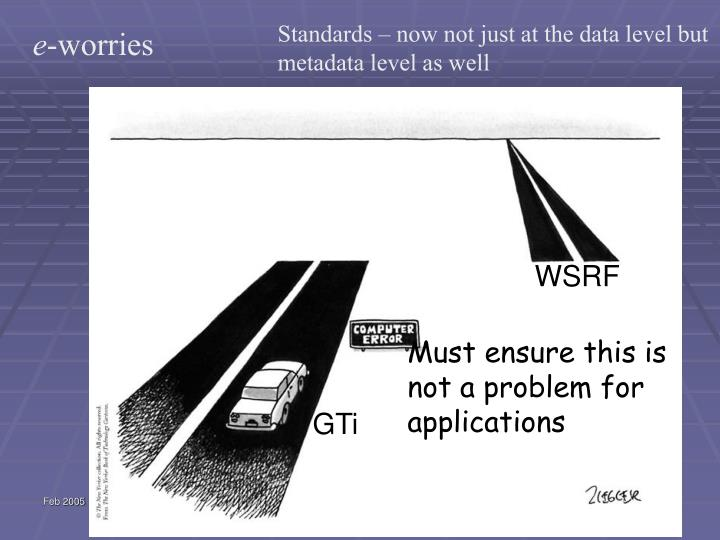 Standards – now not just at the data level but metadata level as well