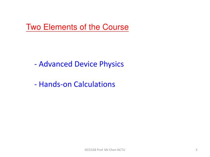 Advanced device physics hands on calculations