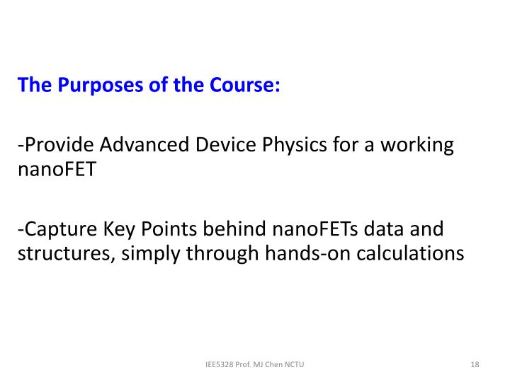 The Purposes of the Course: