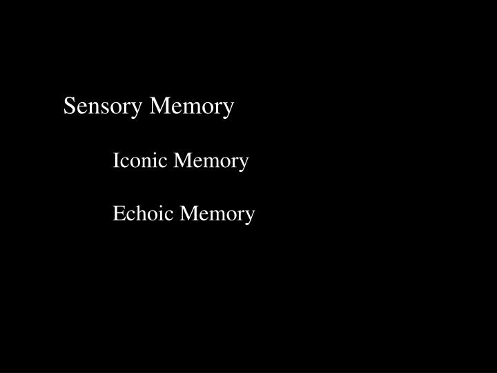 echoic memory essay Echoic memory essay example for free long-term memory refers to the storage of information over an extended period if you can remember something that happened more than just a few moments.