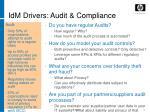 idm drivers audit compliance