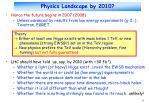 physics landscape by 2010