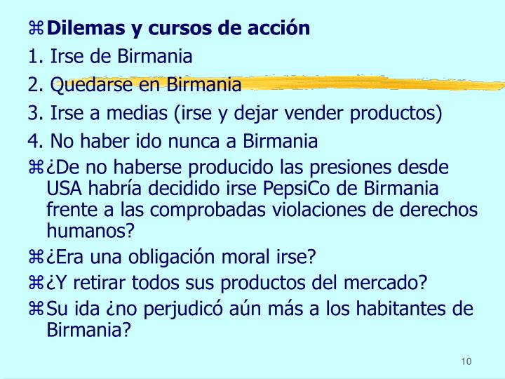 Dilemas y cursos de acción