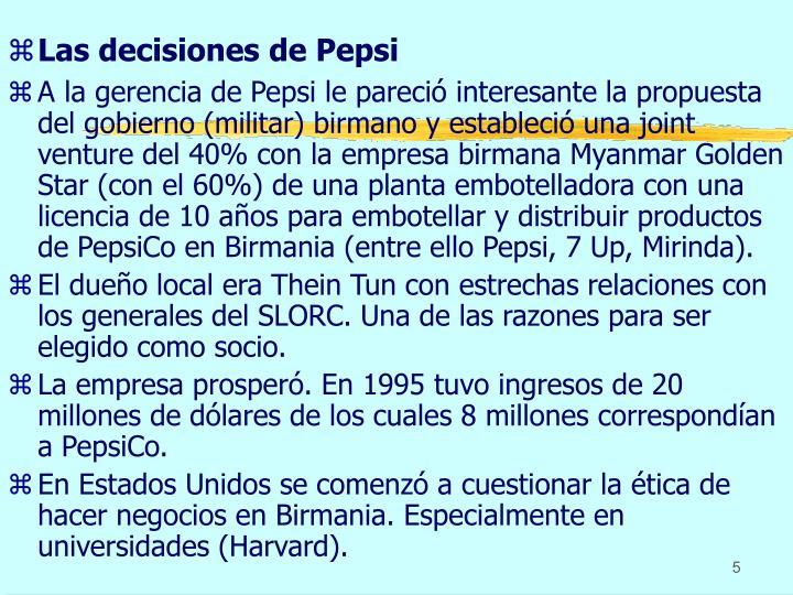 Las decisiones de Pepsi