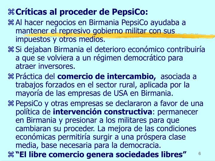 Críticas al proceder de PepsiCo: