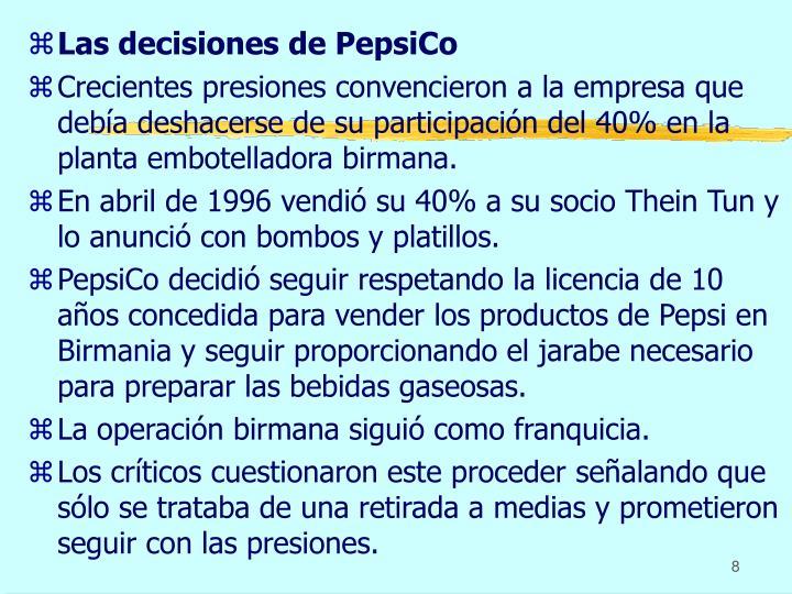 Las decisiones de PepsiCo