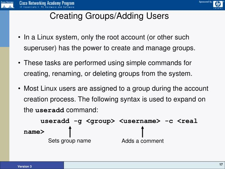 Creating Groups/Adding Users