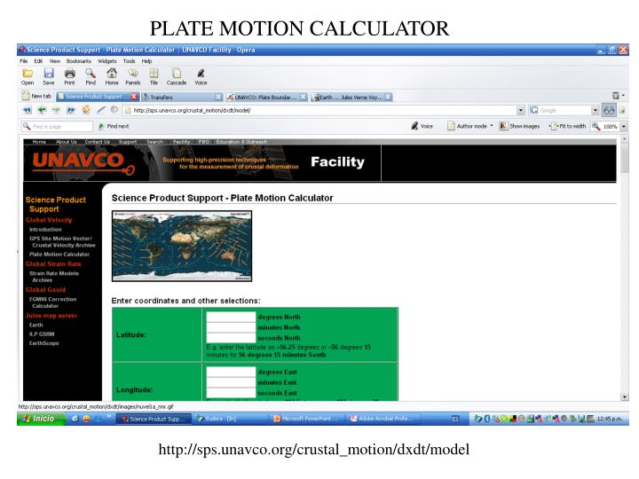 PLATE MOTION CALCULATOR