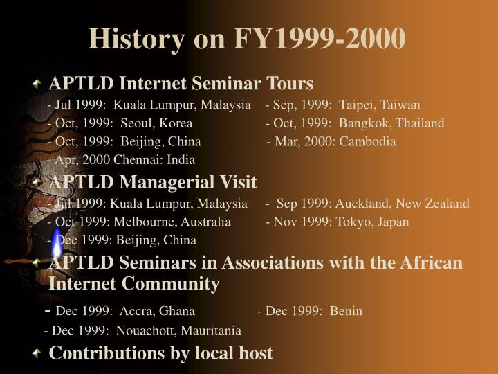 History on FY1999-2000