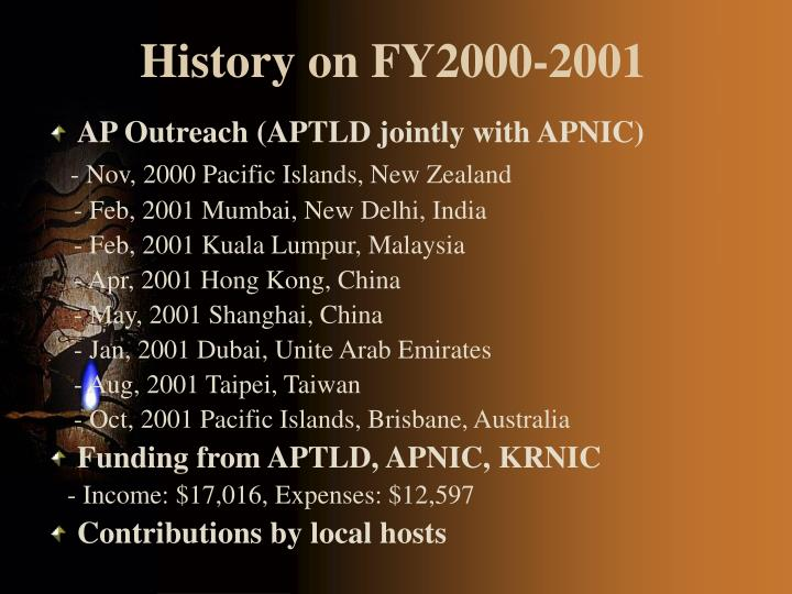History on FY2000-2001