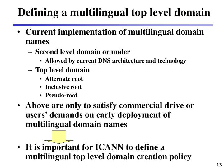 Defining a multilingual top level domain