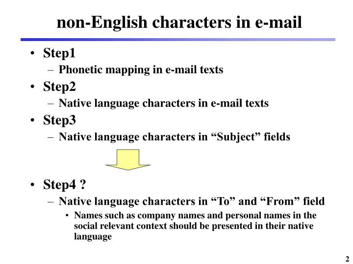 Non english characters in e mail