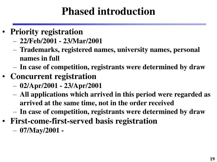 Phased introduction
