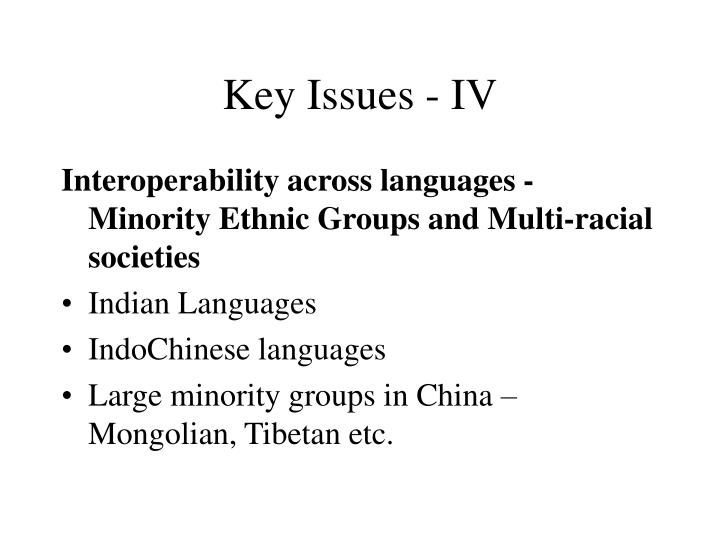 Key Issues - IV
