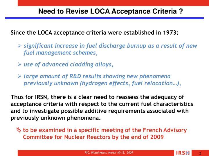 Need to Revise LOCA Acceptance Criteria ?