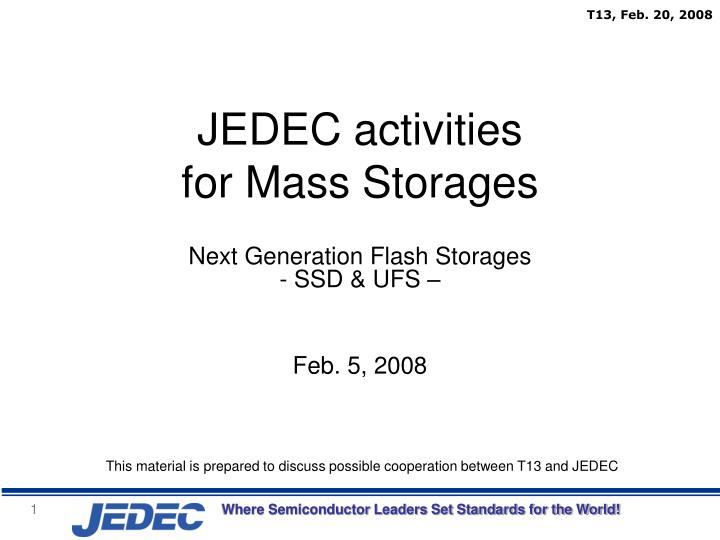jedec activities for mass storages n.