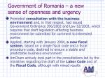 government of romania a new sense of openness and urgency