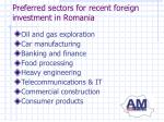 preferred sectors for recent foreign investment in romania