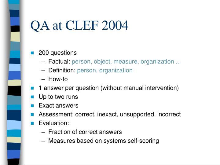 QA at CLEF 2004
