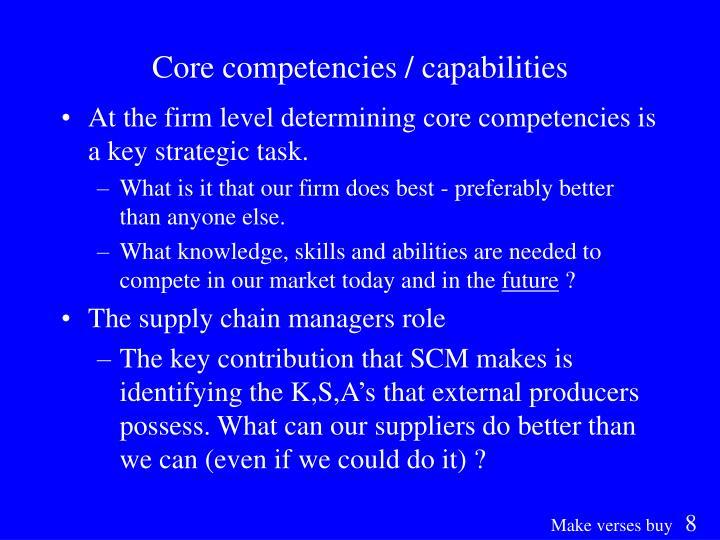 Core competencies / capabilities