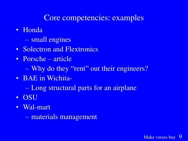 Core competencies: examples
