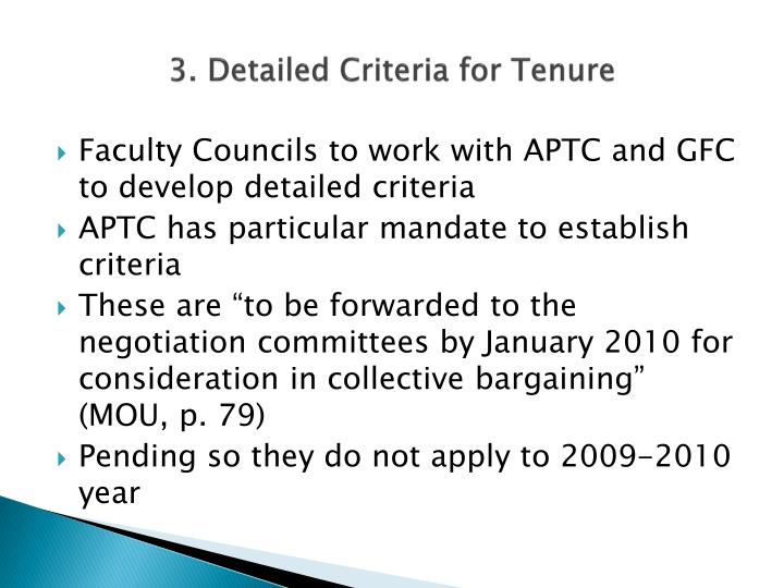 3. Detailed Criteria for Tenure