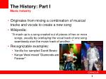 the history part i music industry