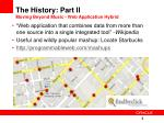 the history part ii moving beyond music web application hybrid