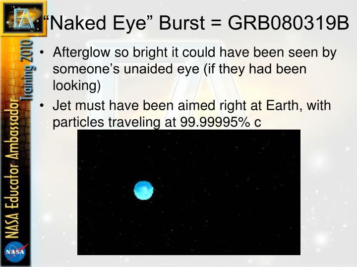 """""""Naked Eye"""" Burst = GRB080319B"""