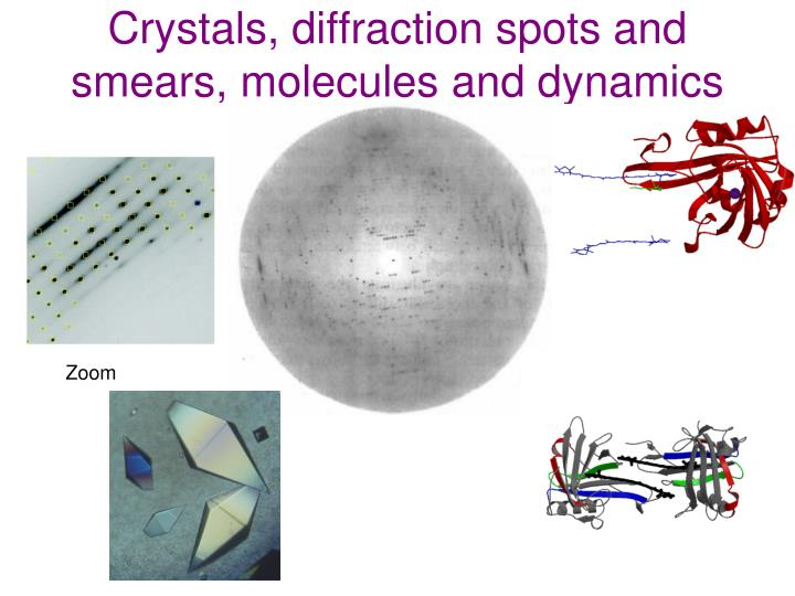 Crystals, diffraction spots and smears, molecules and dynamics