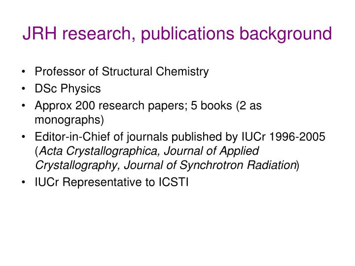 Jrh research publications background