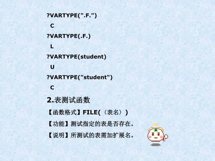 "?VARTYPE("".F."")"