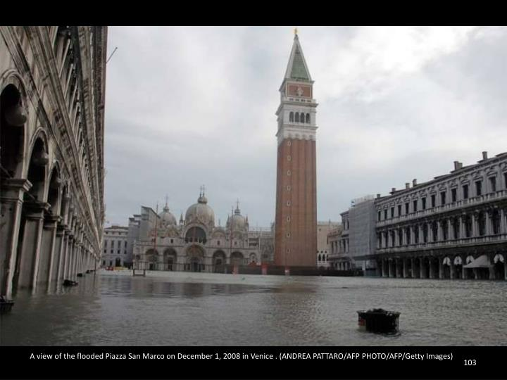 A view of the flooded Piazza San Marco on December 1, 2008 in Venice . (ANDREA PATTARO/AFP PHOTO/AFP/Getty Images)