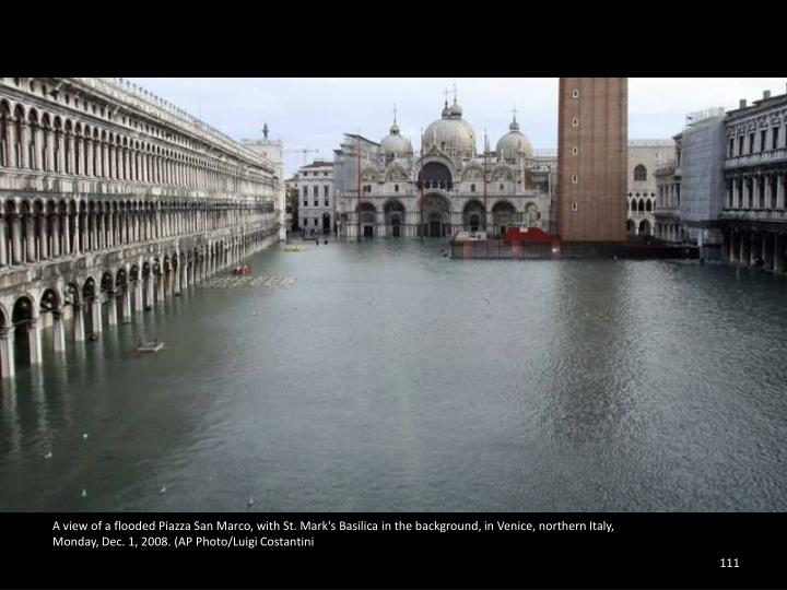 A view of a flooded Piazza San Marco, with St. Mark's Basilica in the background, in Venice, northern Italy,