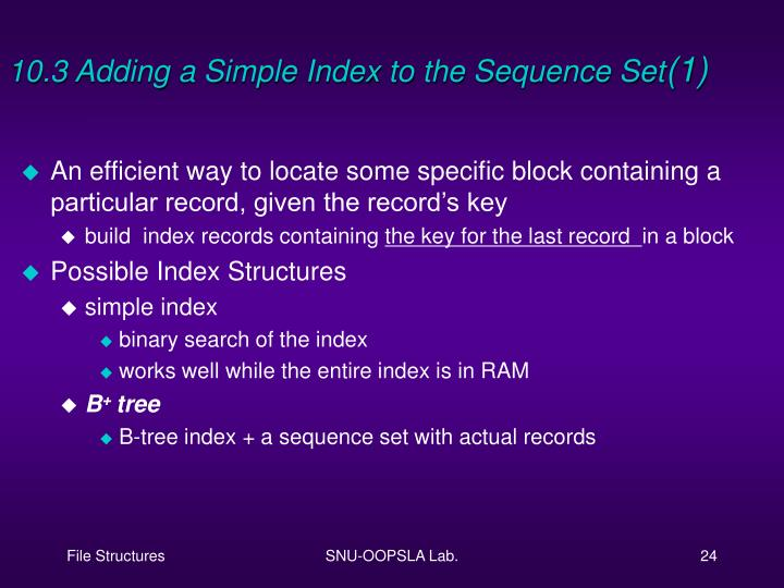 10.3 Adding a Simple Index to the Sequence Set