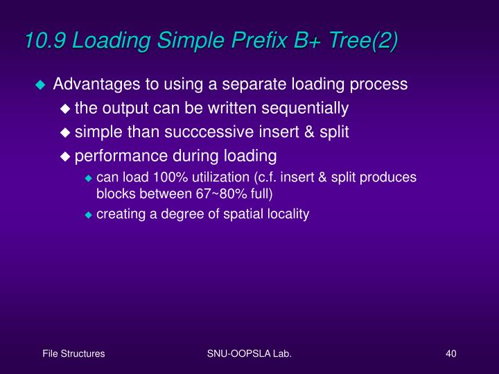 10.9 Loading Simple Prefix B+ Tree(2)