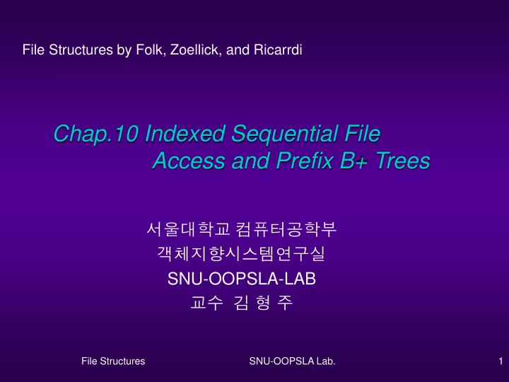 Chap 10 indexed sequential file access and prefix b trees