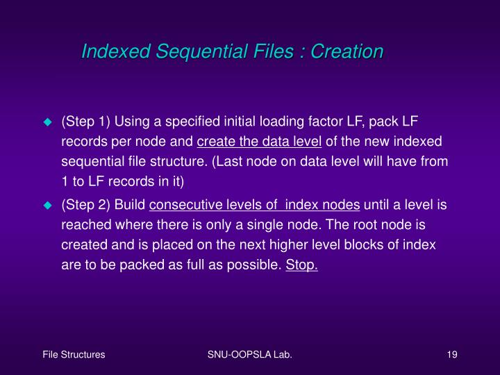 Indexed Sequential Files : Creation