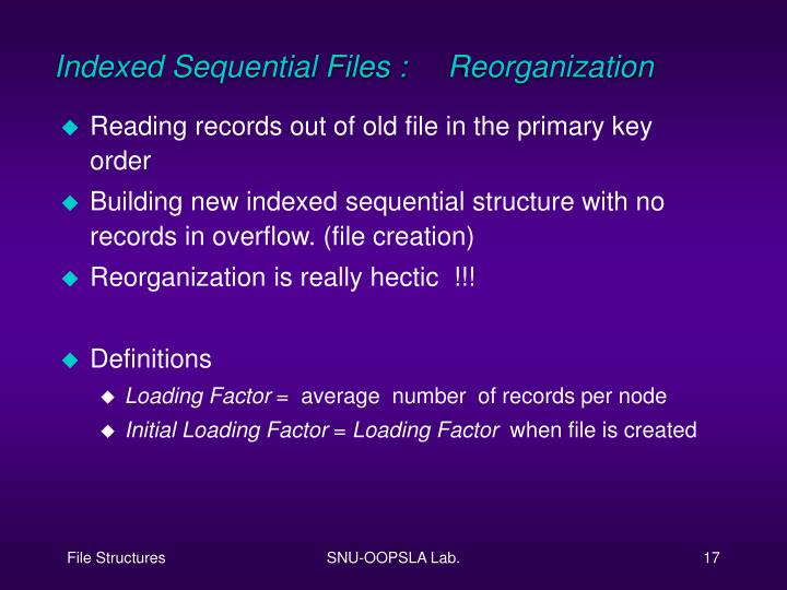 Indexed Sequential Files : Reorganization
