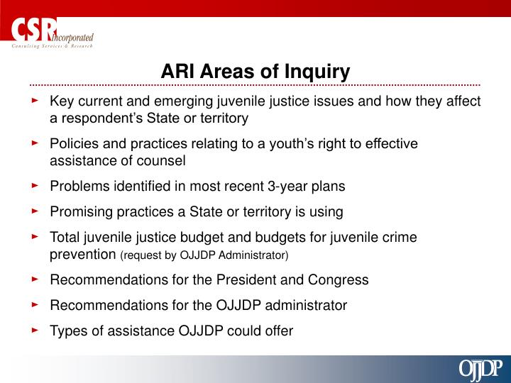 ARI Areas of Inquiry