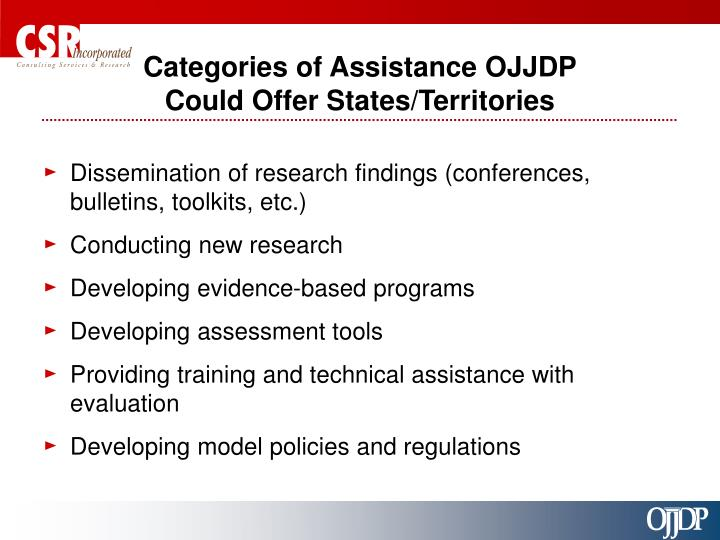 Categories of Assistance OJJDP