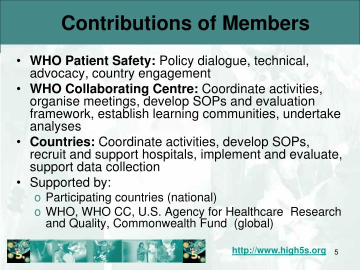 Contributions of Members