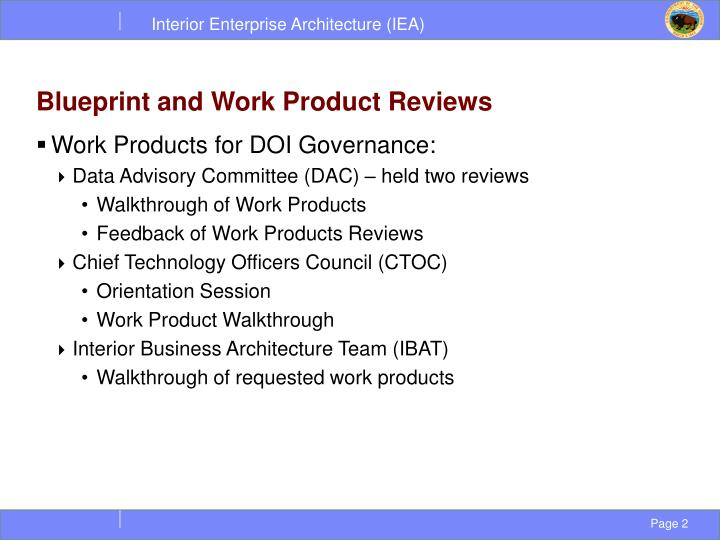 Blueprint and work product reviews