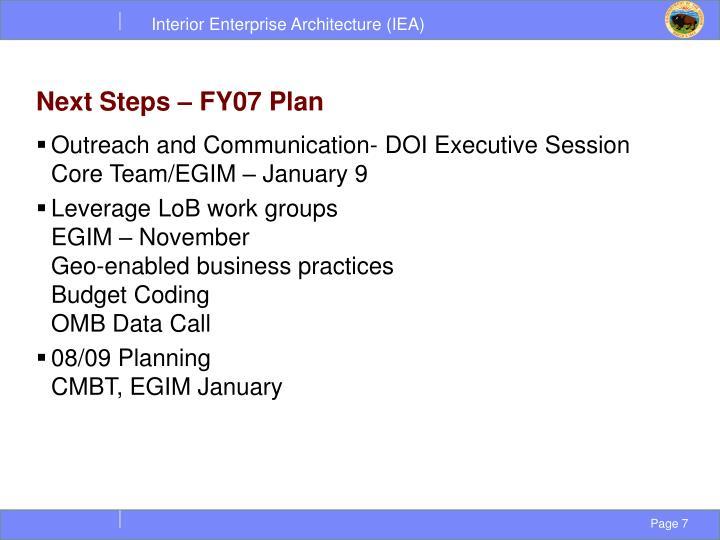 Next Steps – FY07 Plan
